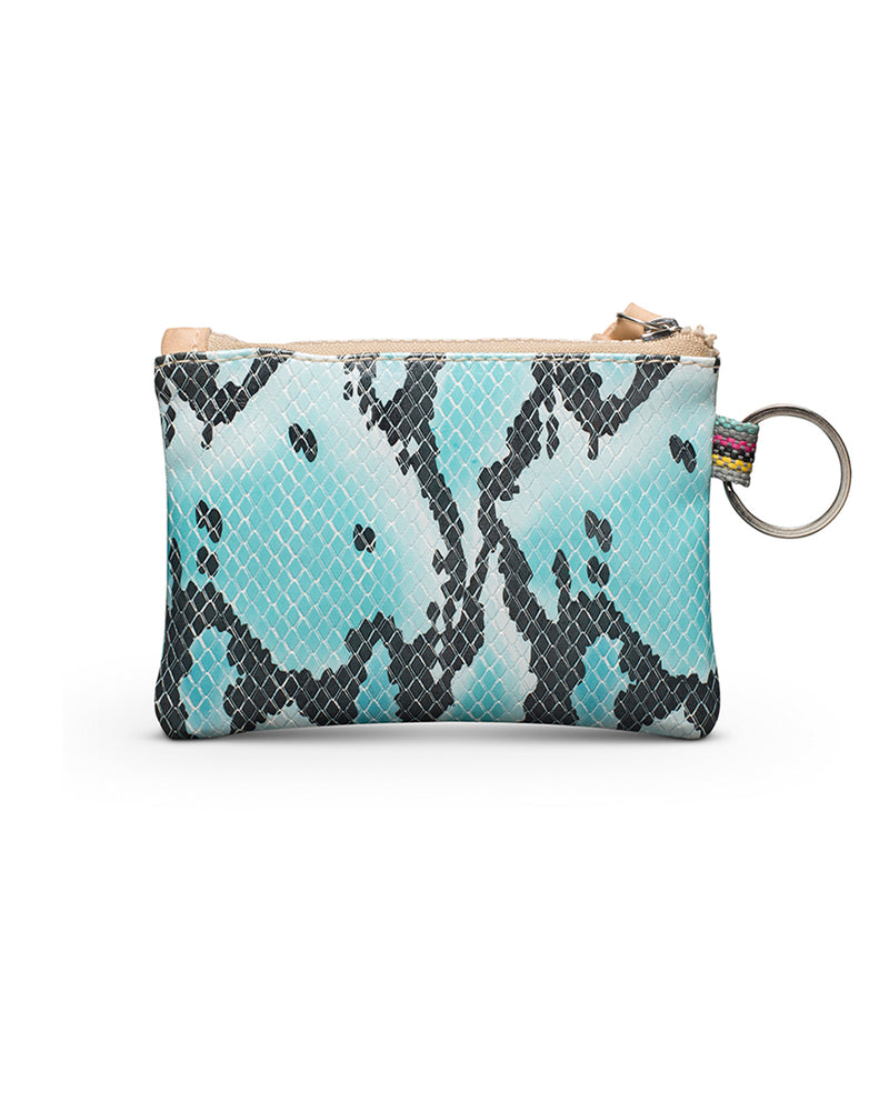 Carmen Teeny Pouch in snake print by Consuela, back view