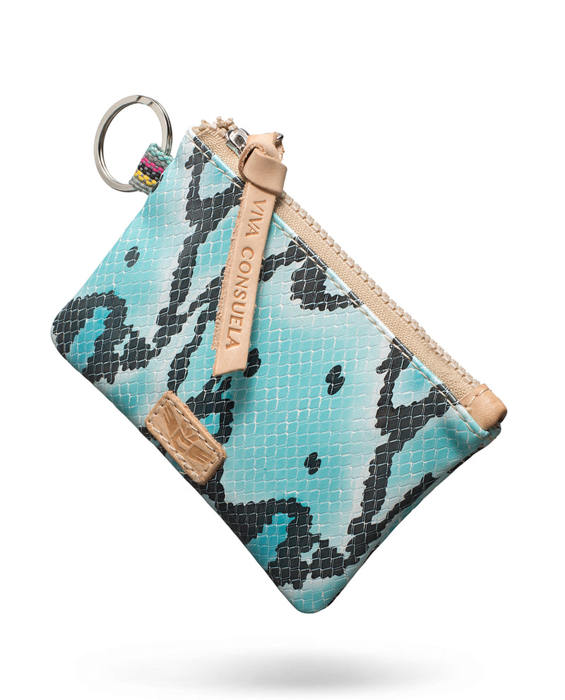 Carmen Teeny Pouch in snake print by Consuela, side view