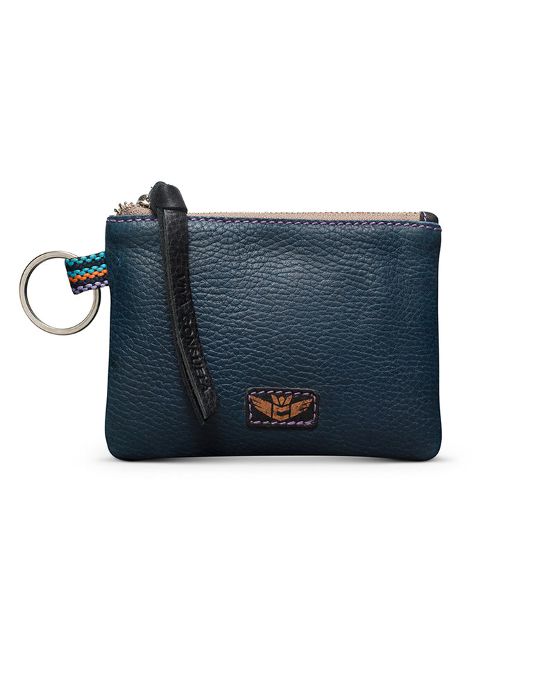 Adelita teeny pouch in navy leather by Consuela, front view