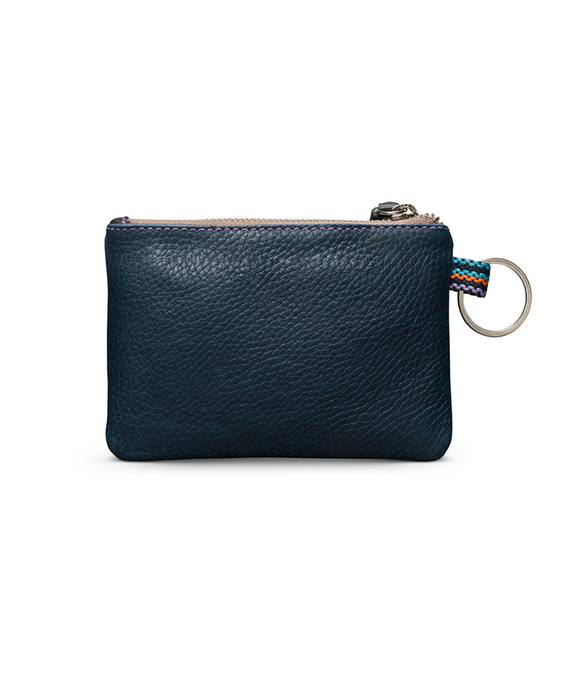 Adelita teeny pouch in navy leather by Consuela, back view