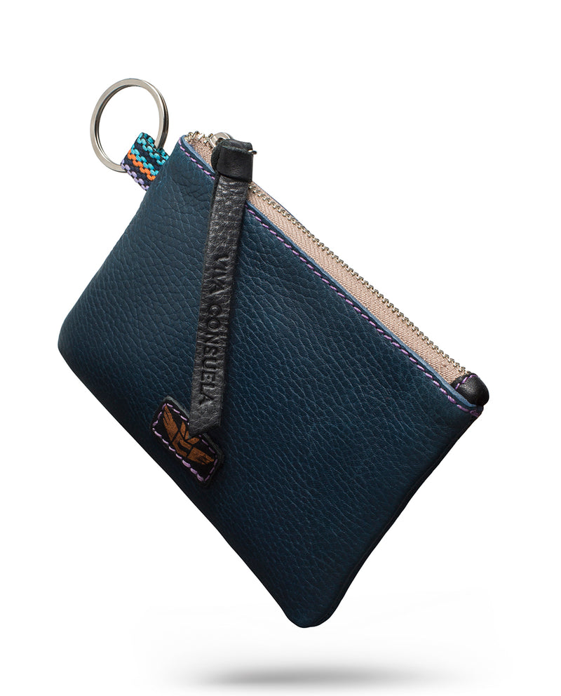 Adelita teeny pouch in navy leather by Consuela, side view