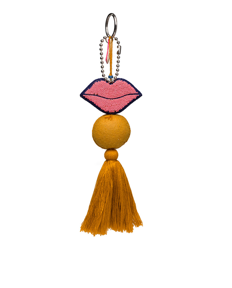 Kyle Charm with beaded lips and tassel, back view