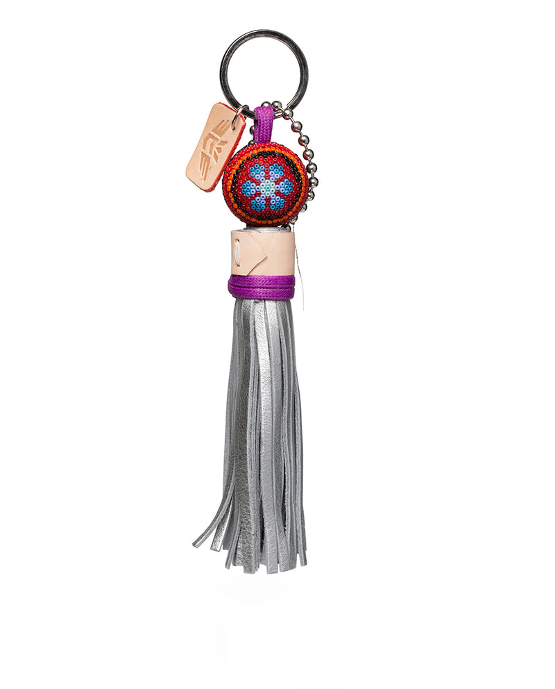 Sonoma Charm beaded with leather tassel, front view