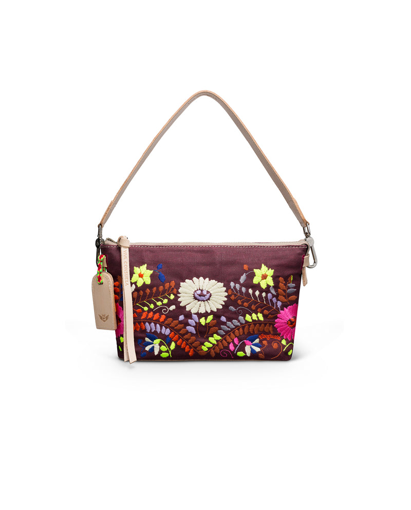 Sonoma Pouch in waxed canvas with floral embroidery by Consuela, front view