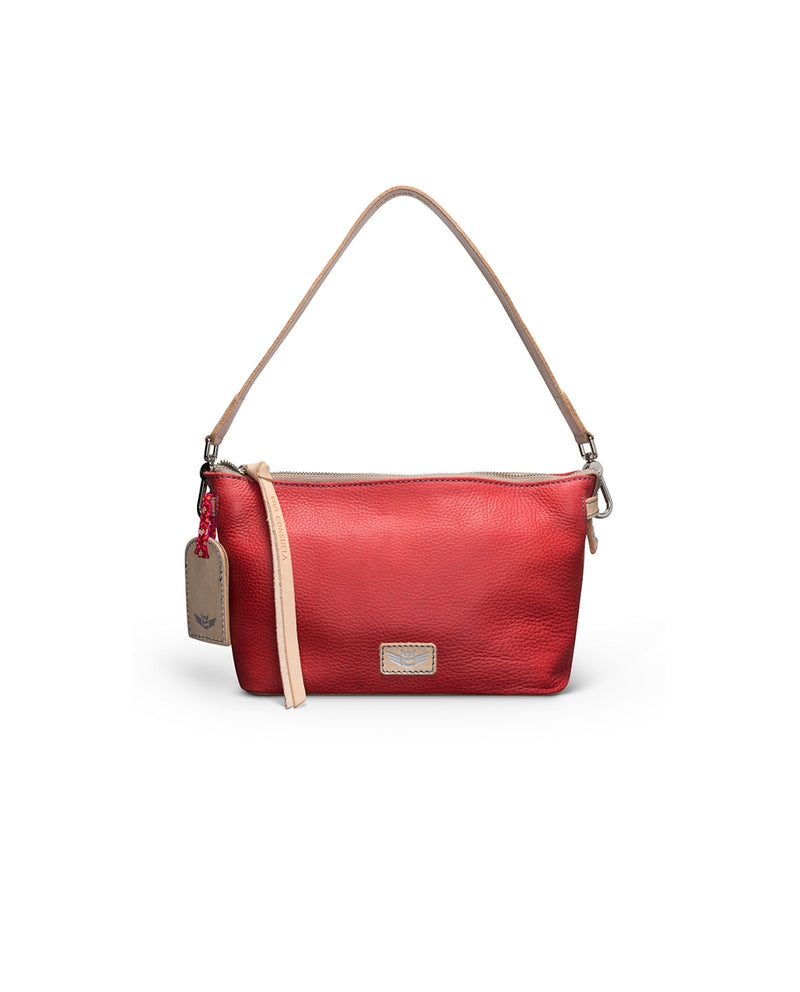 Valentina Pouch in red pebbled leather by Consuela, front view