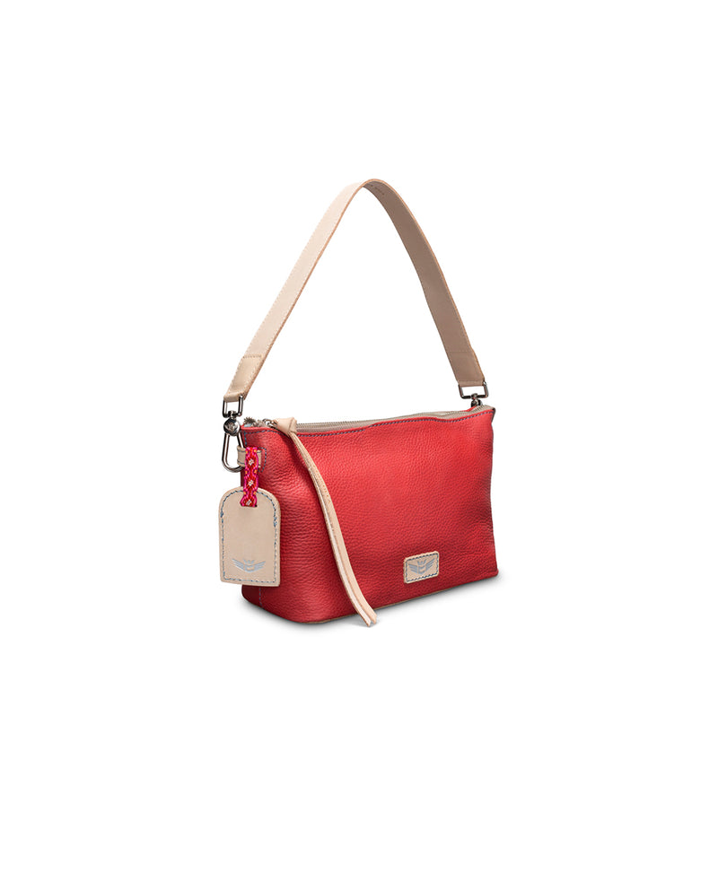 Valentina Pouch in red pebbled leather by Consuela, side view