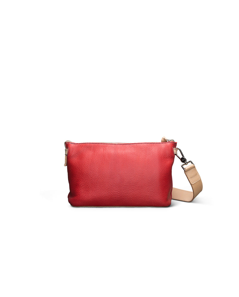 Valentina Pouch in red pebbled leather by Consuela, back view