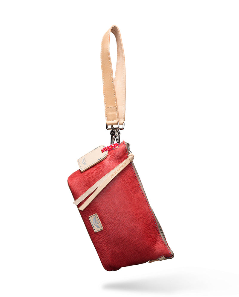 Valentina Your Way Bag in red pebbled leather, as a wristlet