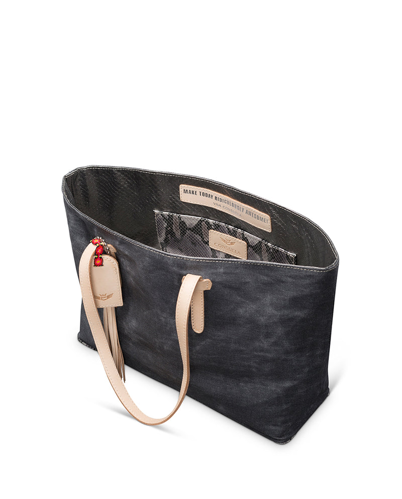 Flynn East/West Tote in grey waxed canvas by Consuela interior slide pocket