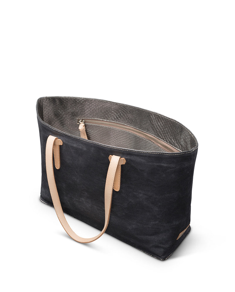 Flynn East/West Tote in grey waxed canvas by Consuela interior zipper pocket