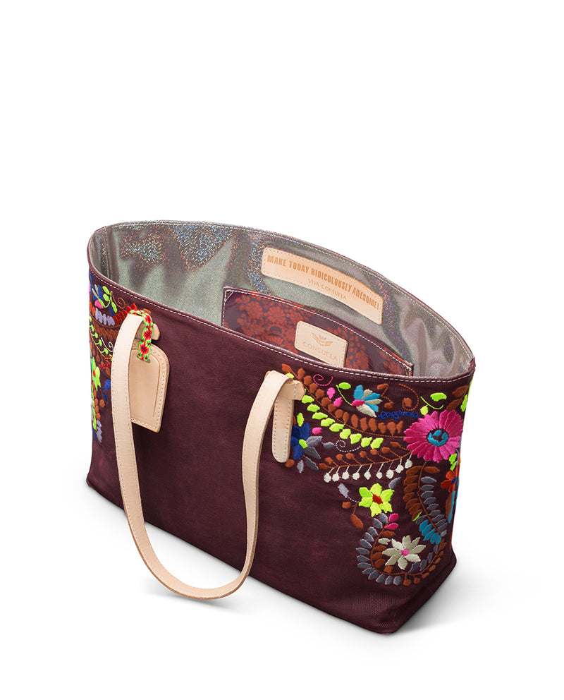 Sonoma East/West Tote in brick red waxed canvas with floral embroidery by Consuela interior slide pocket