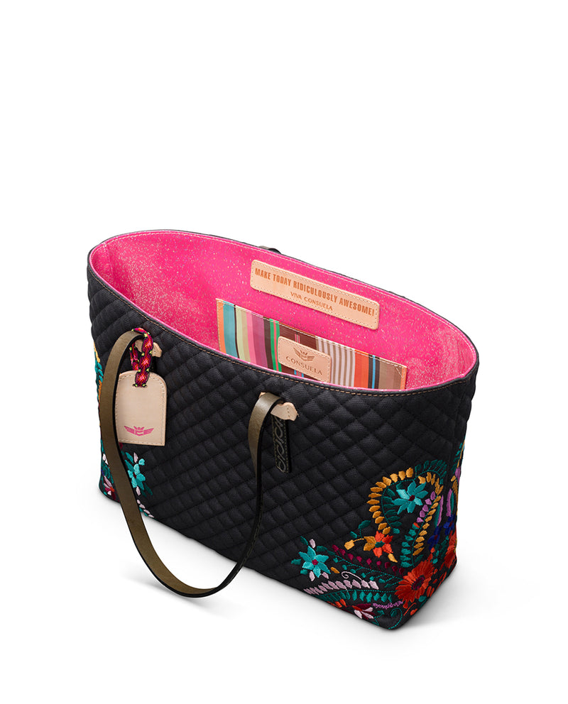 Venice East/West Tote in quilted waxed canvas with floral embroidery by Consuela interior slide pocket