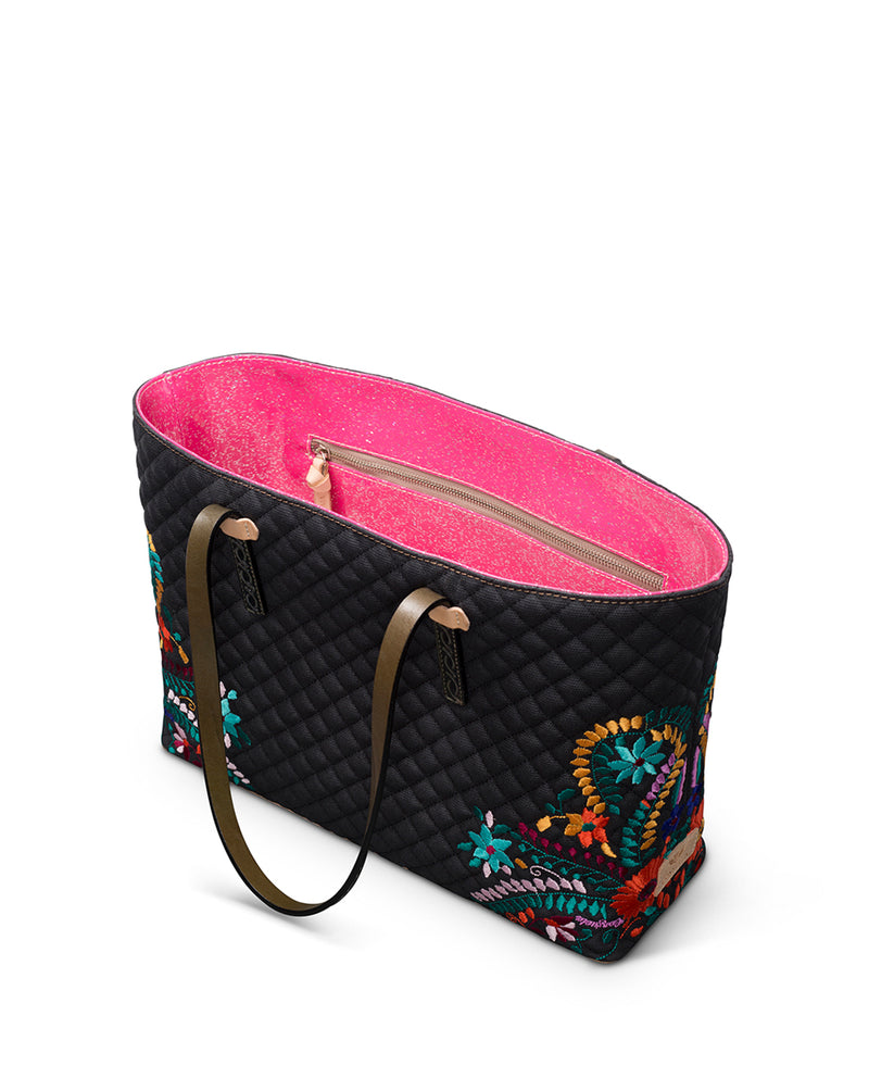 Venice East/West Tote in quilted waxed canvas with floral embroidery by Consuela interior zipper pocket