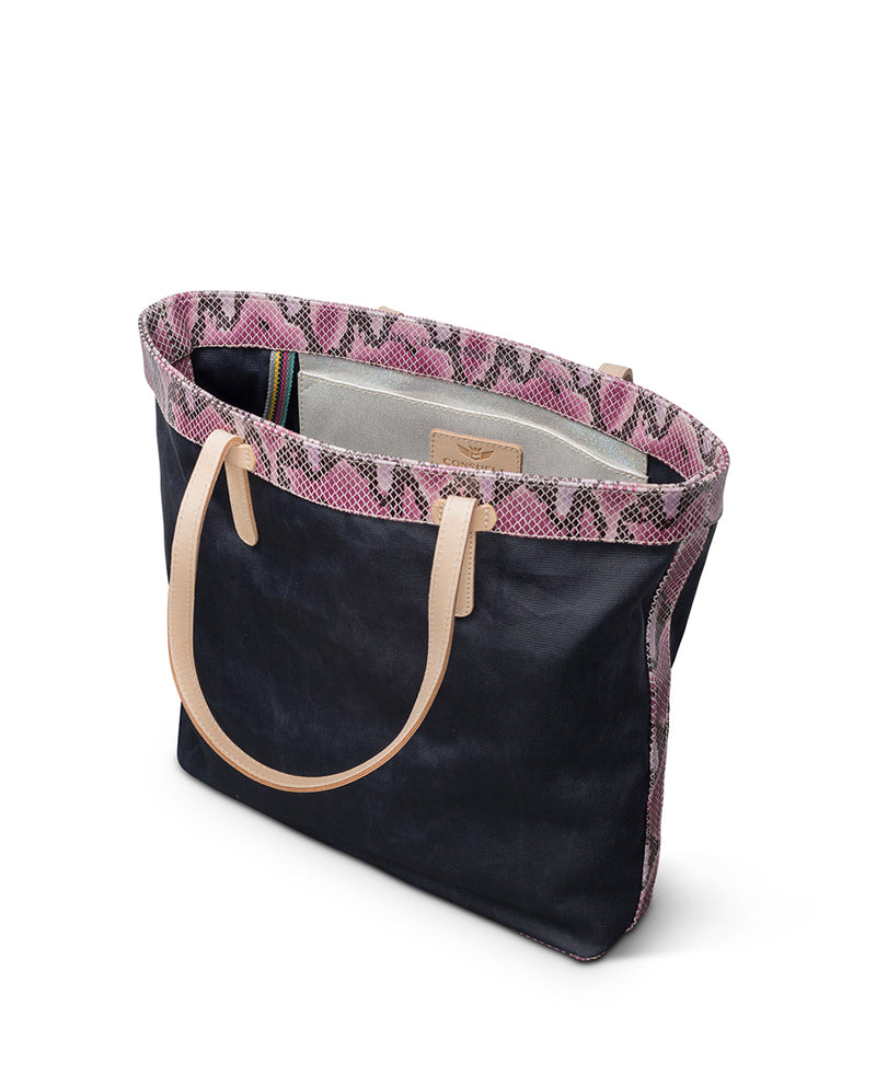Aurora Slim Tote in waxed canvas by Consuela, interior slide pocket
