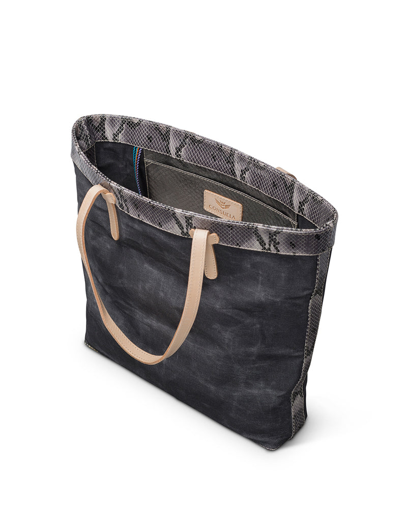 Flynn Slim Tote in grey waxed canvas by Consuela, interior slide pocket