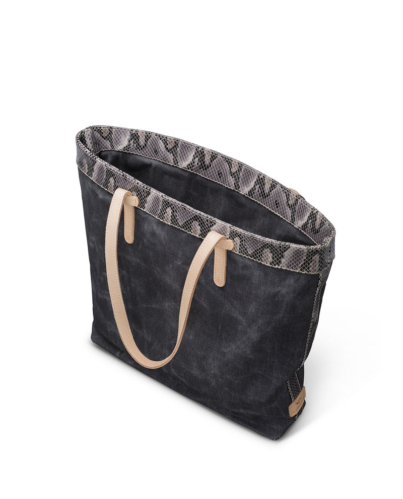 Flynn Slim Tote in grey waxed canvas by Consuela, interior