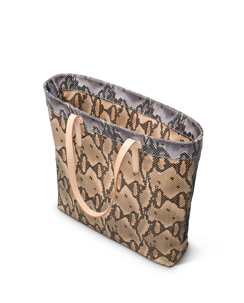 Margot Slim Tote in snake print by Consuela, interior