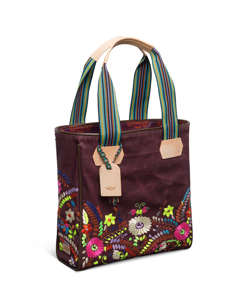 Sonoma Classic Tote in waxed canvas with embroidery by Consuela, side view