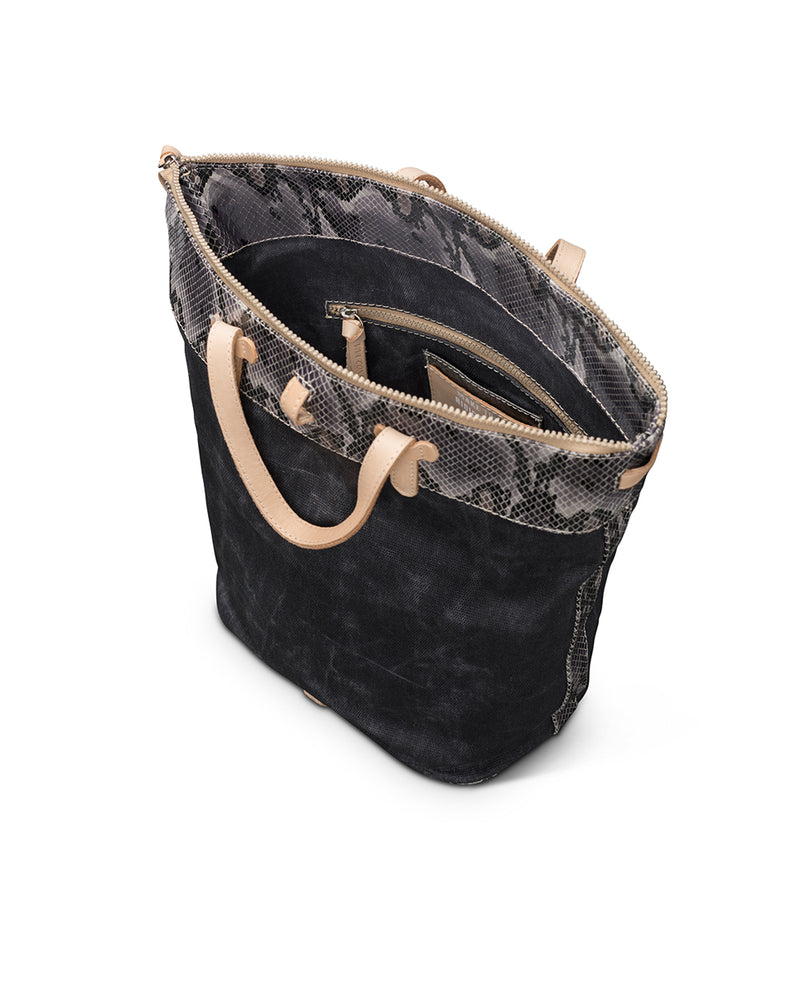 Flynn Sling in waxed canvas with snake print by Consuela, interior view