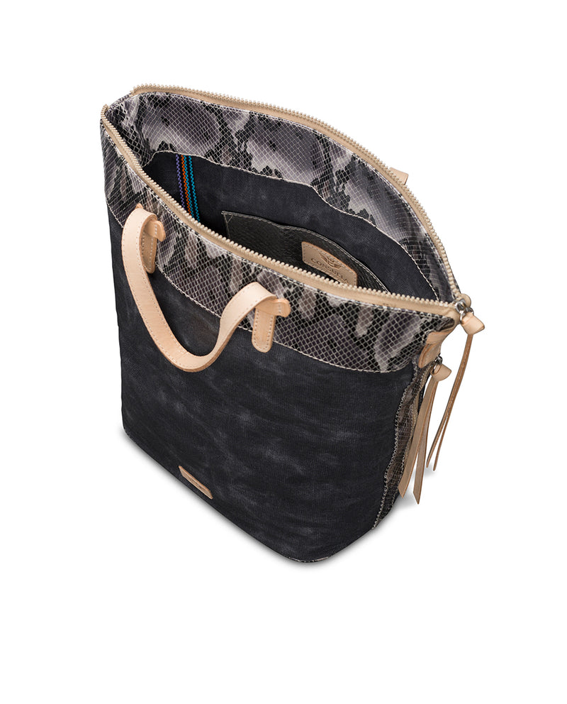 Flynn Sling in waxed canvas with snake print by Consuela, interior view 2
