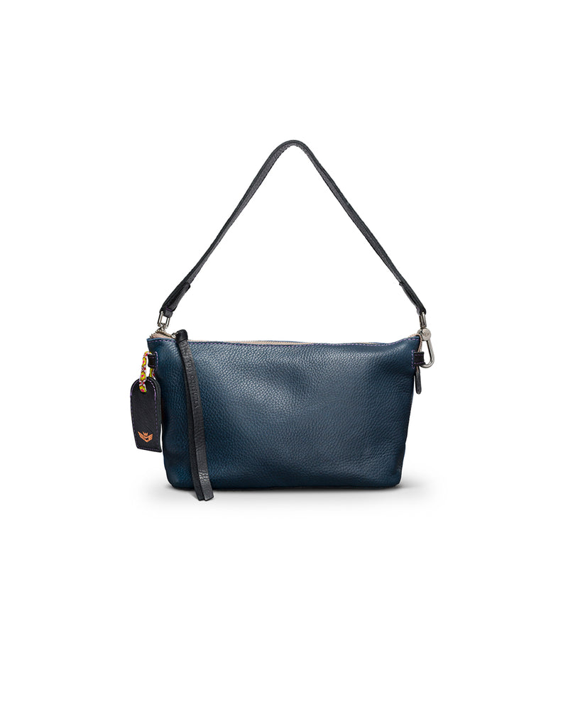 Adelita Your Way Bag in navy pebbled leather by Consuela, front view