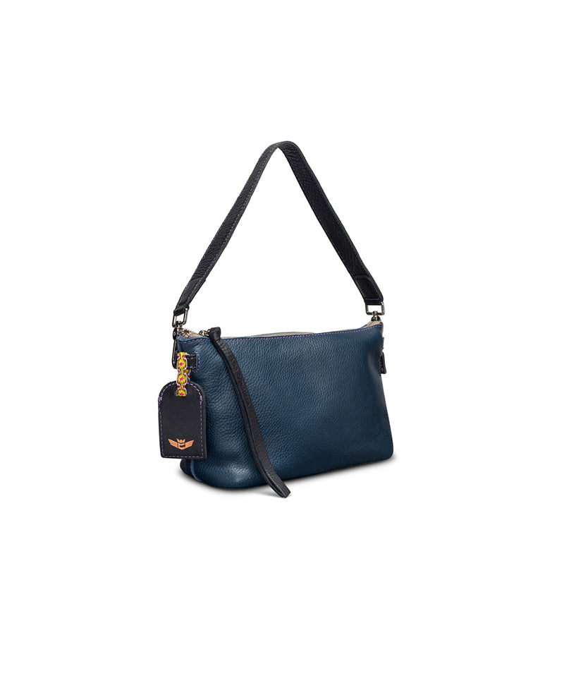 Adelita Your Way Bag in navy pebbled leather by Consuela, side view