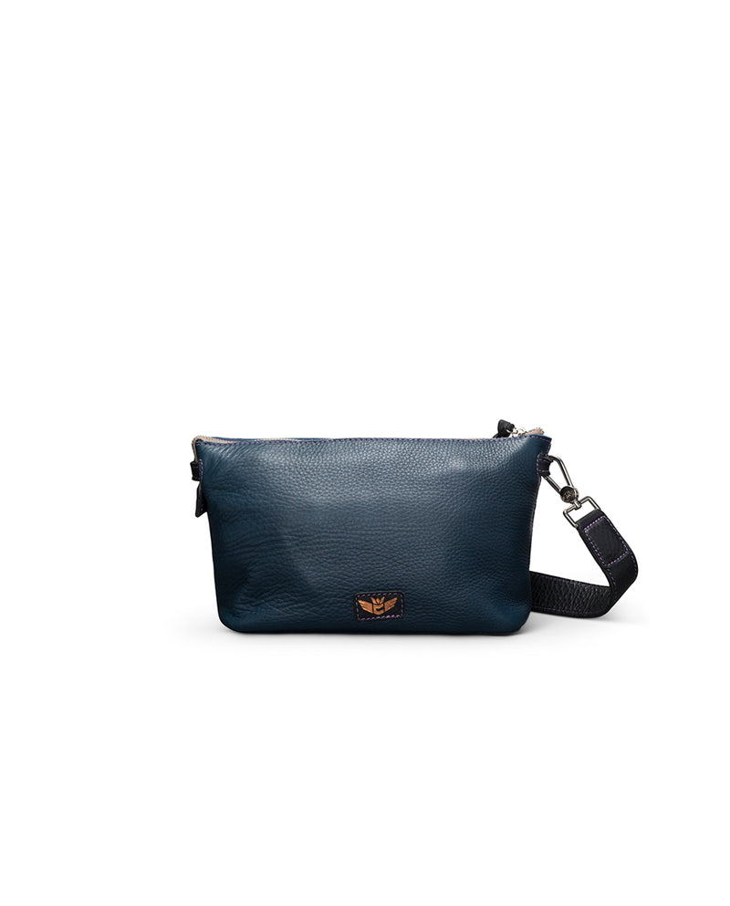 Adelita Your Way Bag in navy pebbled leather by Consuela, front view 3