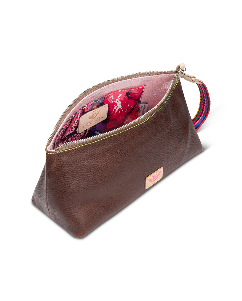 Magdalena tool bag in brown leather by Consuela, top view