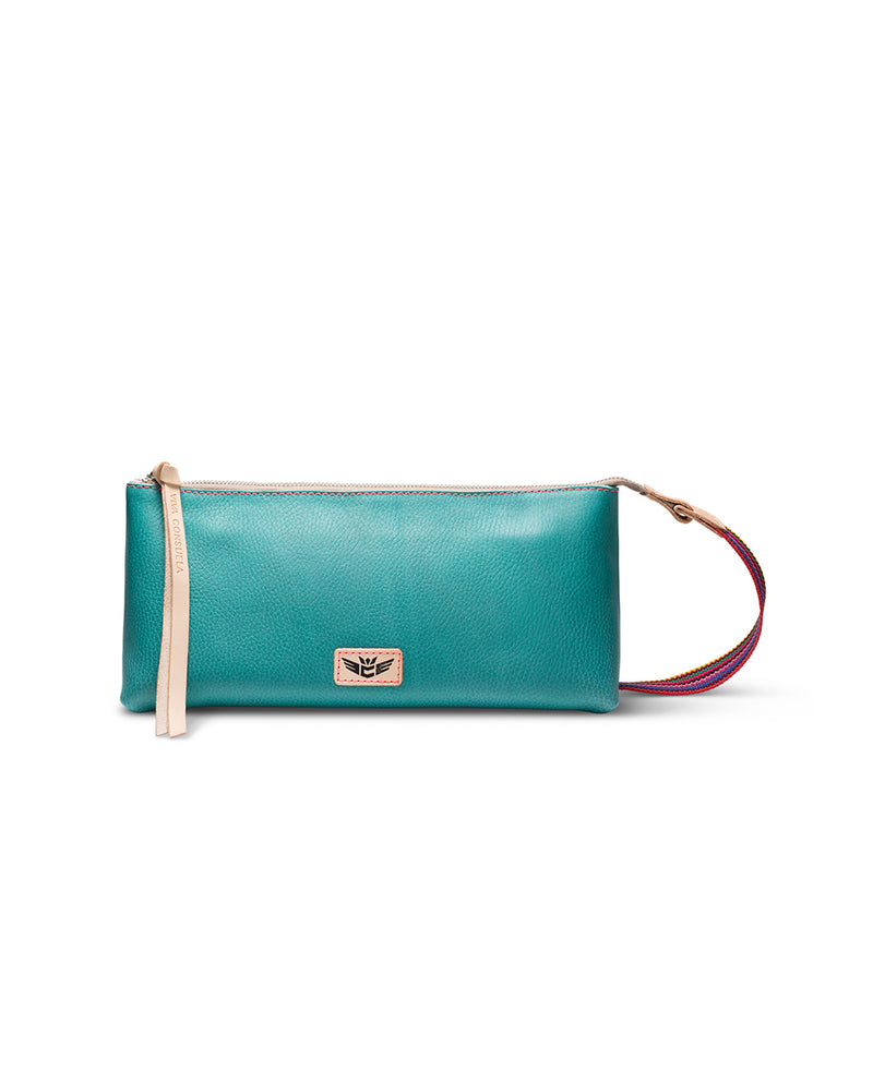 Guadalupe tool bag in turquoise leather by Consuela, front view