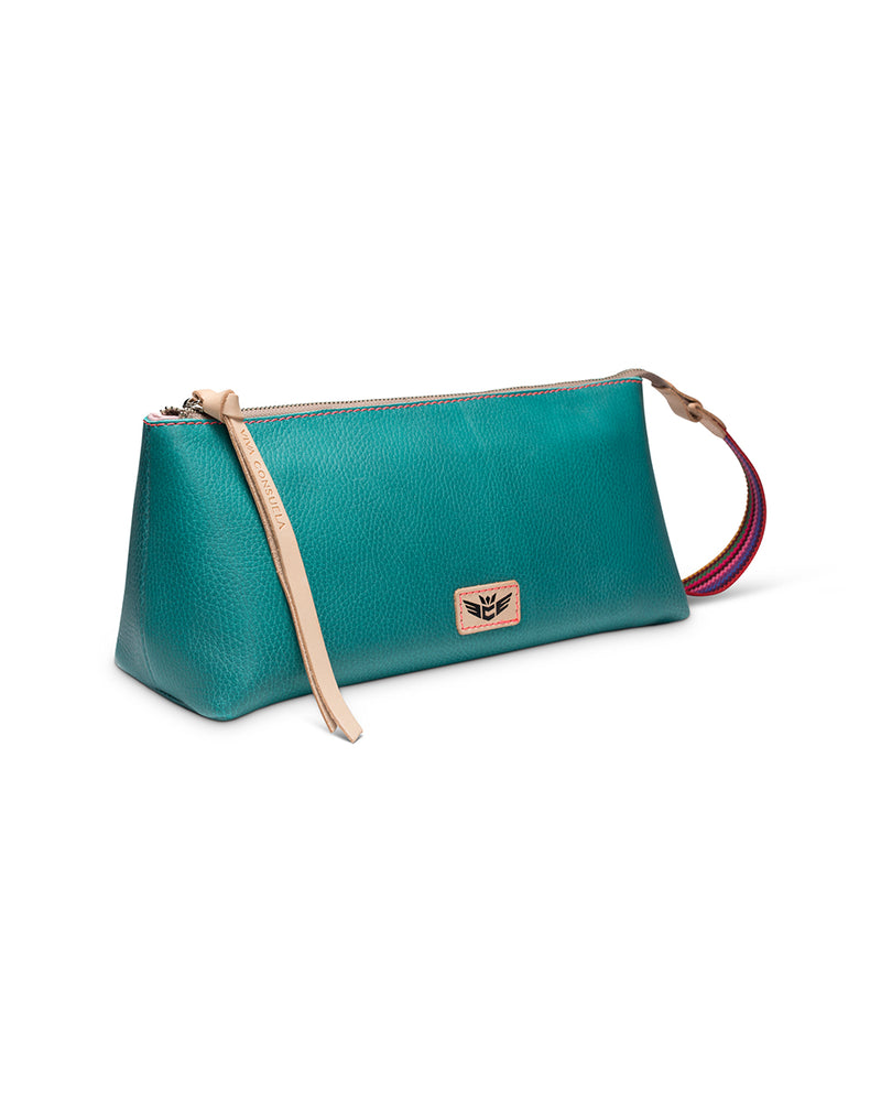 Guadalupe tool bag in turquoise leather by Consuela, side view