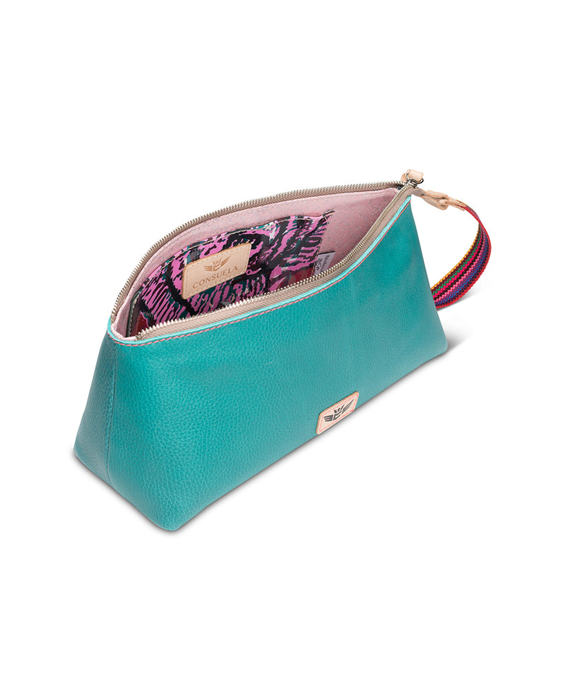 Guadalupe tool bag in turquoise leather by Consuela, top view
