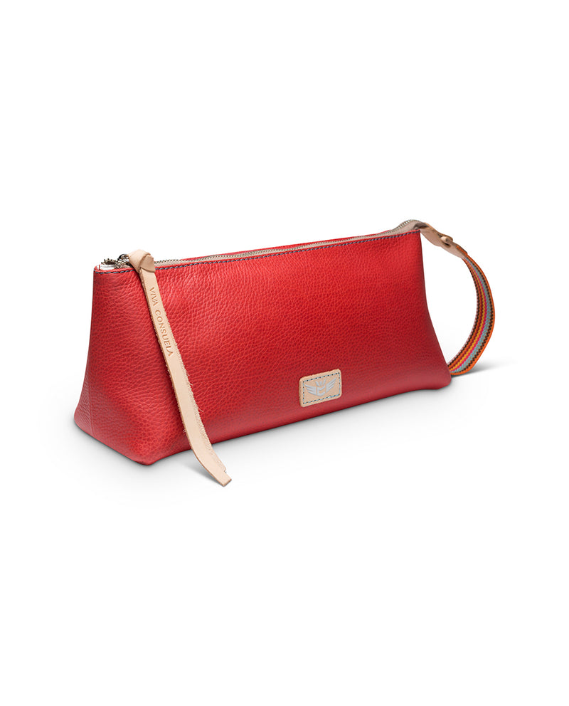 Valentina tool bag in red leather by Consuela, side view