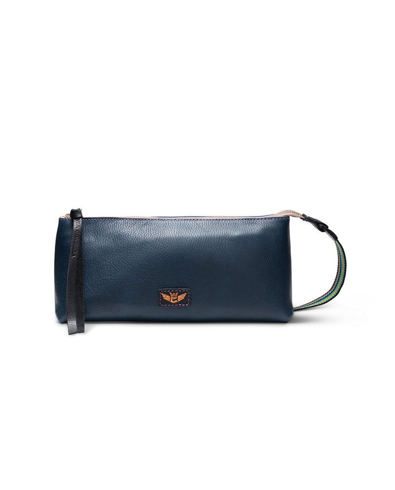 Adelita tool bag in navy leather by Consuela, front view