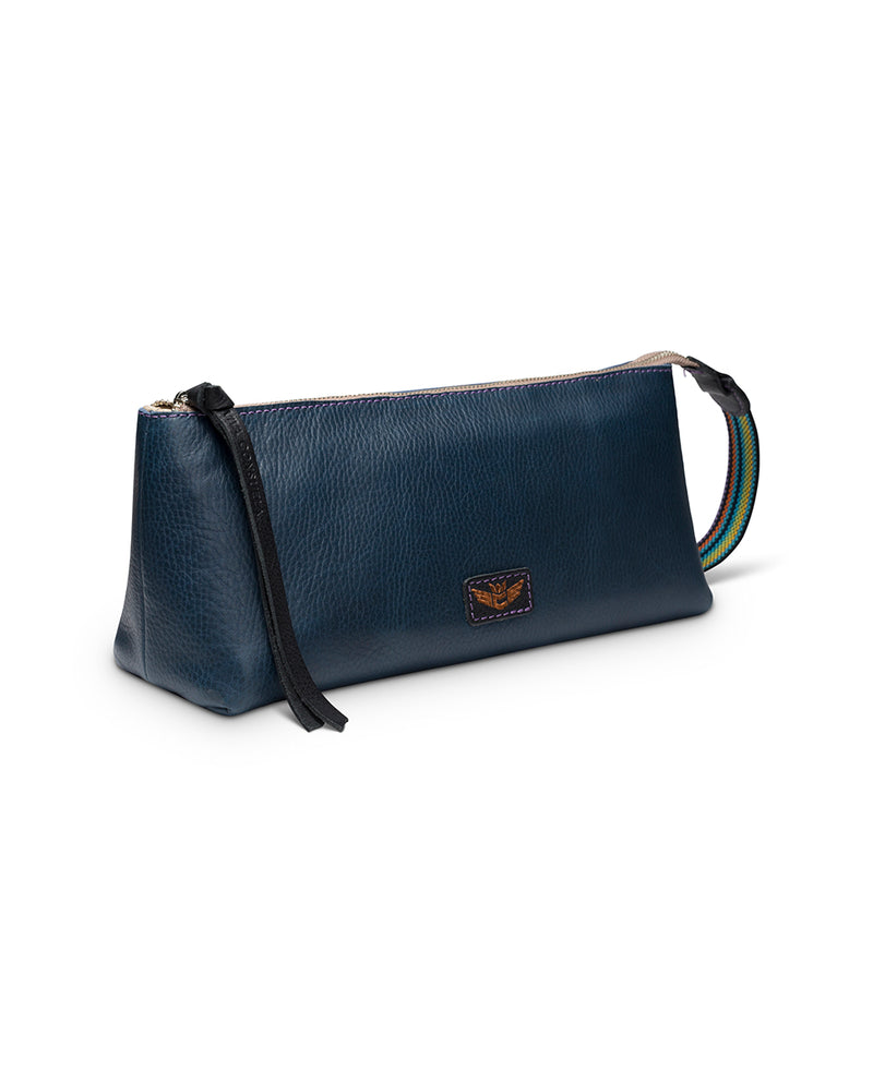 Adelita tool bag in navy leather by Consuela, side view