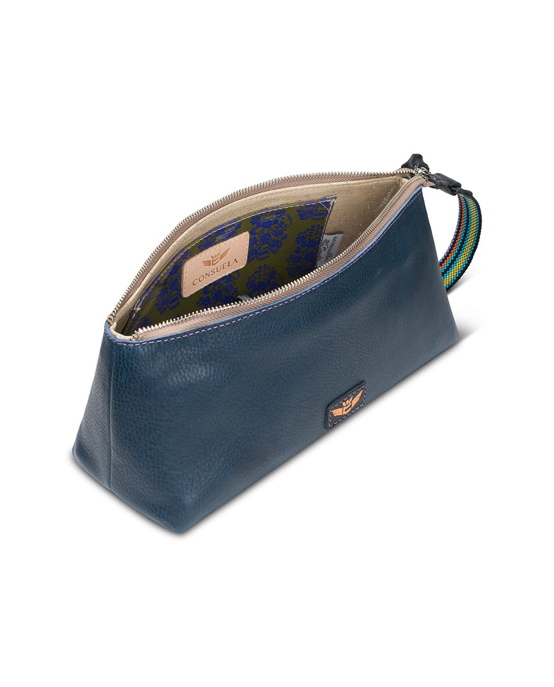 Adelita tool bag in navy leather by Consuela, top view