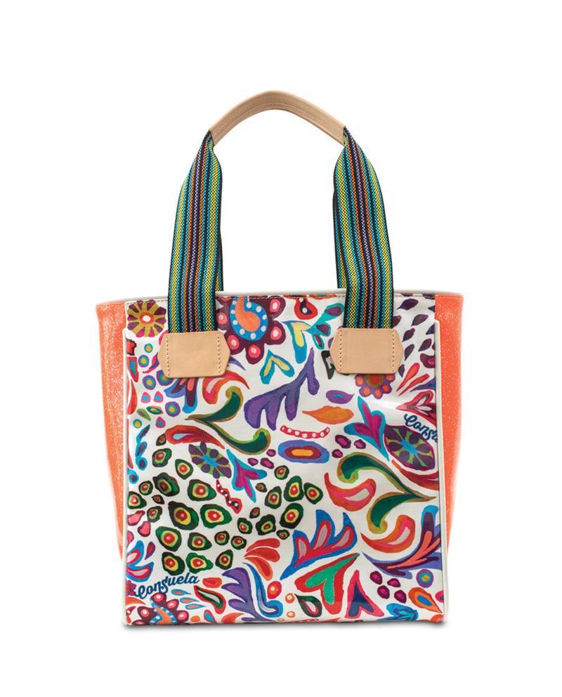 White Swirly Classic Tote in ConsuelaCloth™ by Consuela, front view