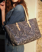 Flynn Breezy East West Tote in grey snake print by Consuela, lifestyle image