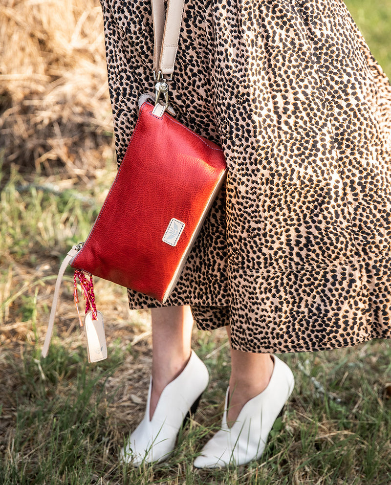 Valentina Your Way Bag in red pebbled leather by Consuela, front view 3
