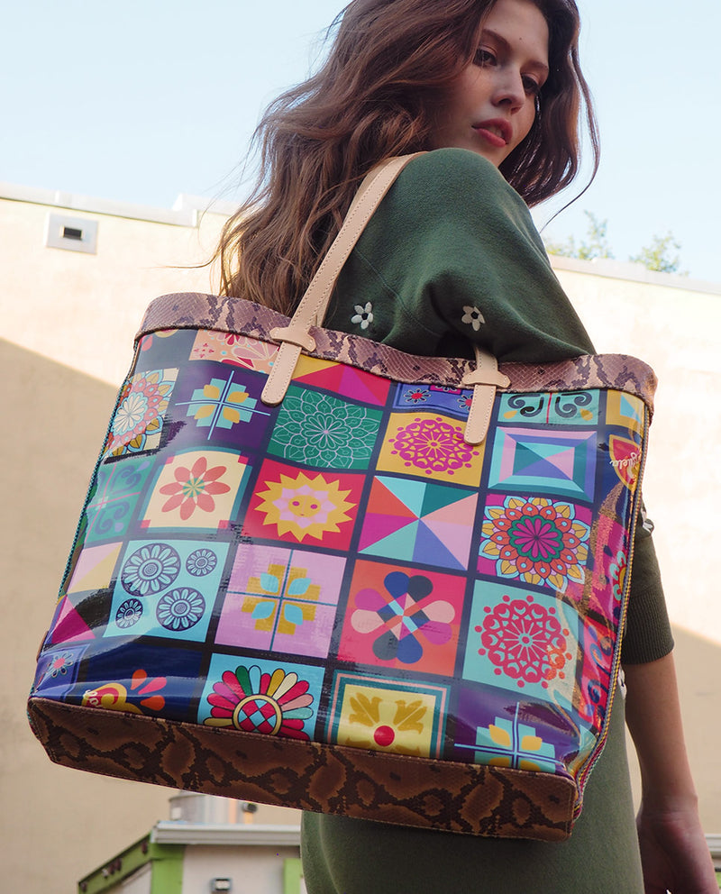 Allie Slim Tote in ConsuelaCloth™ by Consuela, lifestyle image of bag on shoulder