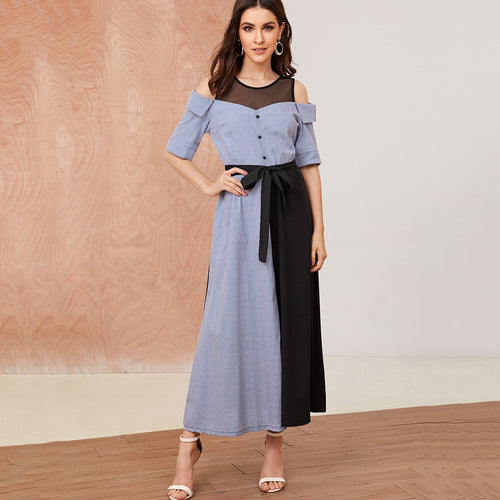 Mesh Contrast Colorblock Belted Dress
