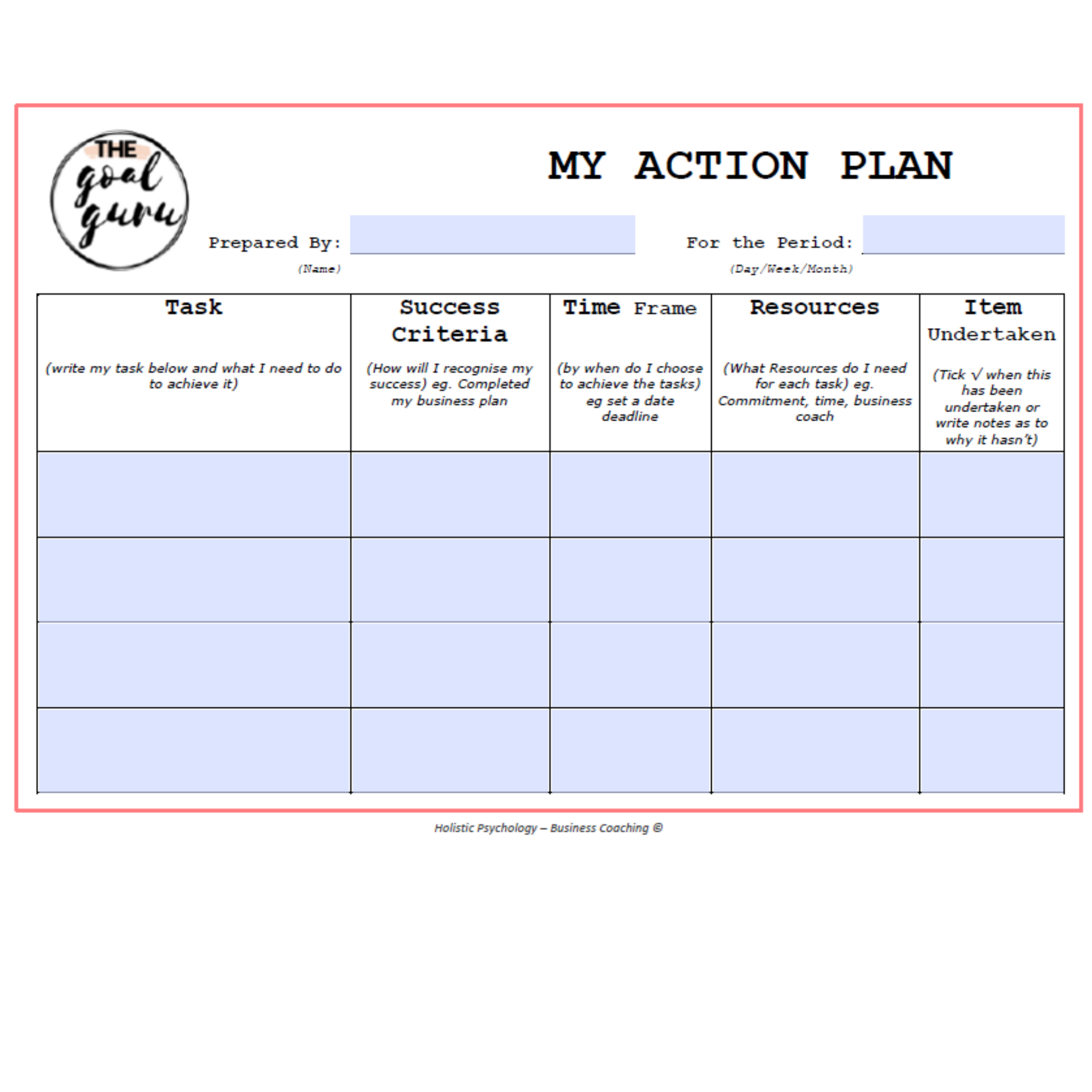 FREE Action Plan Worksheet