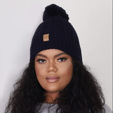 Load image into Gallery viewer, Black Sunrise Navy Bobble Hat