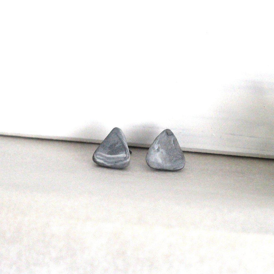 ELARA - Grey And White Marble Clay Stud-Jewellery-Yard + Parish