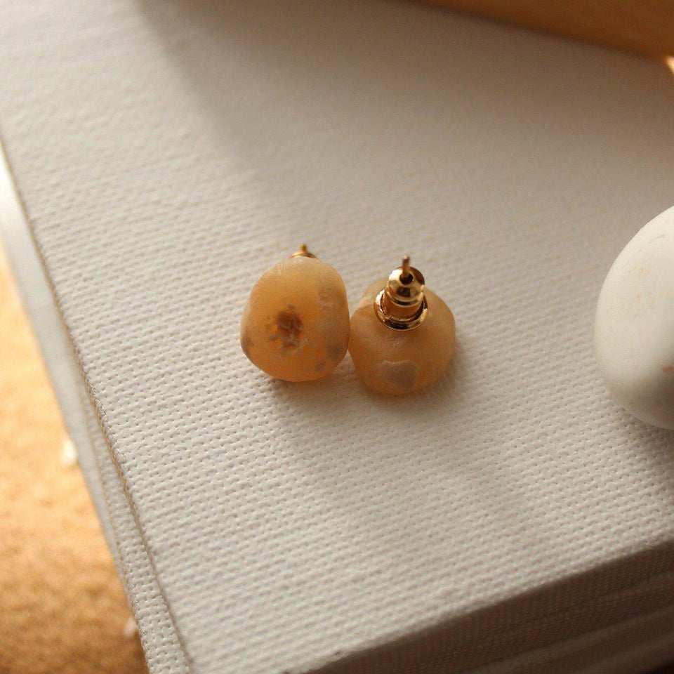 'Nina' Beige Studs-Jewellery-Yard + Parish
