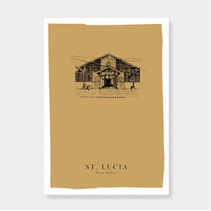 'St. Lucia' Market Print-Fiona's Notes-Yard + Parish