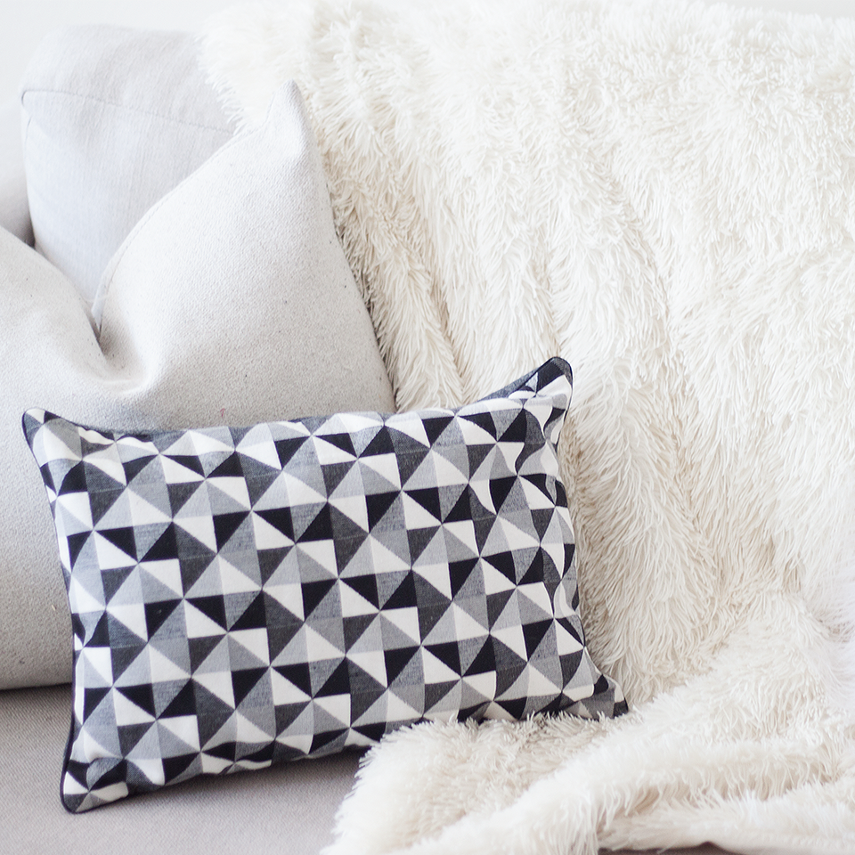 black and white pattern cushion