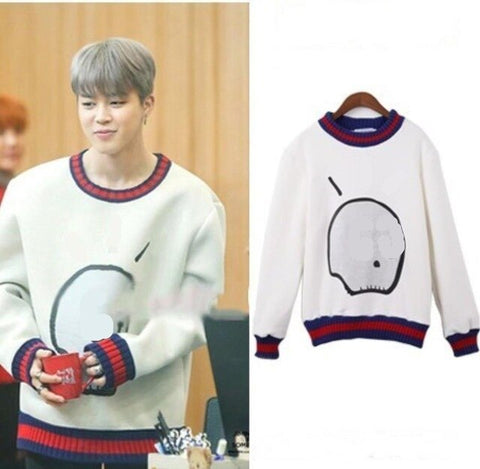 BTS Jimin GG Skeleton Skull White Sweater