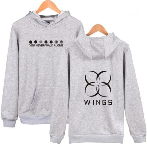 BTS The Wings Album You Never Walk Alone Gray Hoodie