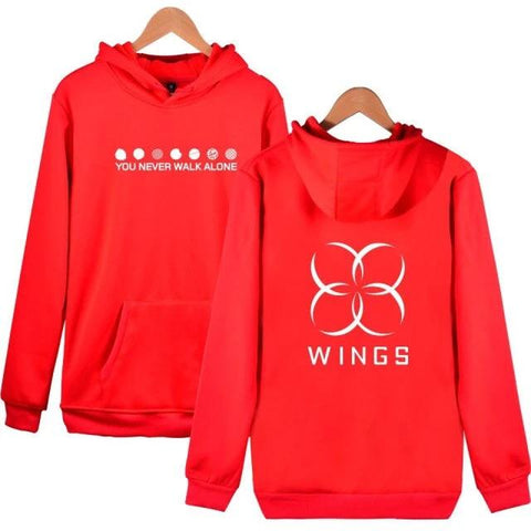 BTS The Wings Album You Never Walk Alone Red Hoodie