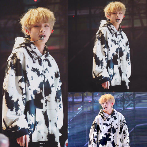 BTS V Black and White Cow Hoodie